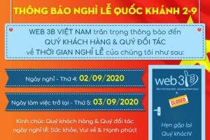 Công ty CP 3B Việt Nam thông báo Nghỉ Quốc Khánh 2020