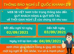 CÔNG TY CP 3B VIỆT NAM THÔNG BÁO NGHỈ QUỐC KHÁNH 02/09/2021